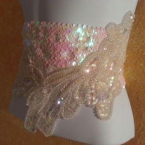 Sebrina Love / Sebrina Love Bridals Accessories - Iridescent White Sequin Bead Wedding Obi Belt Sash